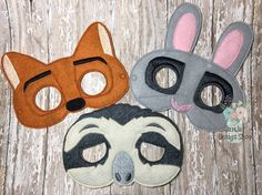 This listing is for a 3 piece Zootopia Inspired Mask. Perfect for the days your child wants to play pretend or dress-up. Made of soft felt using