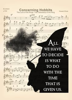 The Lord of the Rings Gandalf Smoking Silhouette with Quote Concerning Hobbits Sheet Music Art Print Gandalf, Legolas, Fellowship Of The Ring, Lord Of The Rings, Bird Silhouette Art, Silhouette Cameo, Concerning Hobbits, Sheet Music Art, Bullet Journal