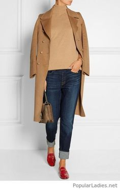 Jeans, brown top and coat with red flats
