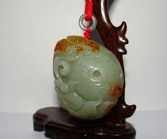 "2.3""China Certified Nature Nephrite Hetian Jade Fortune Fish and Basket  Pedants"