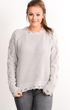 Gray Distressed Cable Knit Sweater