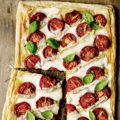 Oven-dried tomato and taleggio tart with pesto recipe. This rustic recipe showcases the intense flavour of the British tomato, in a wonderful tart. Puff Pastry Recipes, Tart Recipes, Veg Recipes, Cheese Recipes, Italian Recipes, Vegetarian Recipes, Cooking Recipes, Savoury Slice, Savory Tart