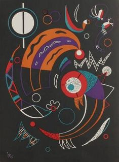 """Comets"" by Kandinsky. Very stylized, but I'll take his word for it? 1938 Rare Limited Edition Original Lithograph by Wassily Kandinsky. Signed on the plate. From the Verve Henri Matisse, Abstract Words, Abstract Art, Abstract Landscape, Kandinsky Art, Kandinsky Prints, Wassily Kandinsky Paintings, Inspiration Art, Art Moderne"