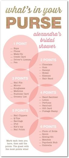 Bridal shower game card