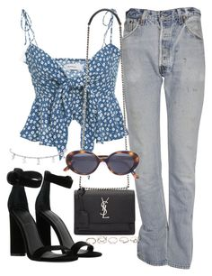 A fashion look from August 2017 by featuring Faithfull, RE/DONE, Kendall + Kylie, Yves Saint Laurent, GUESS and Oliver Peoples Girly Outfits, Cute Casual Outfits, Chic Outfits, Spring Outfits, Fashion Outfits, Fashion Mode, Look Fashion, Korean Fashion, Womens Fashion