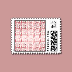 Hearts and Words of Love Postage Stamp by joacreations