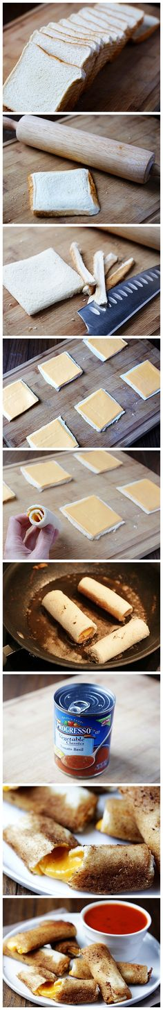 Grilled Cheese Rolls - {{ I don't think I've ever seen a better idea for a grilled cheese than this. I love mozzarella sticks, grilled cheese sticks are perfect! I Love Food, Good Food, Yummy Food, Awesome Food, Fun Food, Snack Recipes, Cooking Recipes, Cooking Hacks, Yummy Recipes