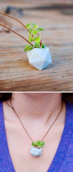 Wearable Planter Necklace. Its a D20
