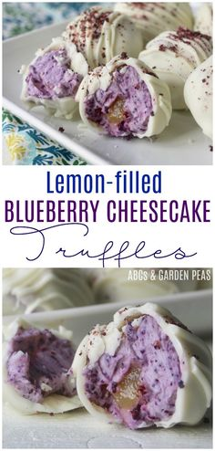 Lemon-Filled Blueberry Cheesecake Truffles - - Easy bites of blueberry cheesecake filled with tangy lemon curd and enrobed in white chocolate. Lemon Blueberry Cheesecake, Blueberry Desserts, Köstliche Desserts, Delicious Desserts, Yummy Food, Tasty, Cheesecake Desserts, Candy Recipes, Sweet Recipes