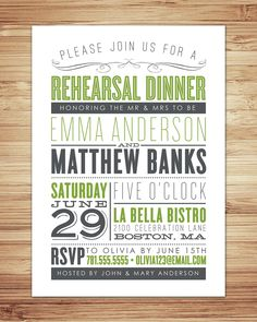 Old Fashioned Rehearsal Dinner Invitation.