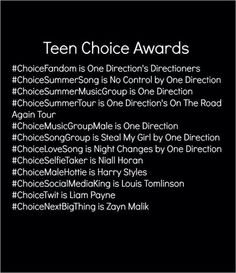 These are the categories the boys are nominated for for the Teen Choice Awards. C'mon, we can do this! REPOST REPOST REPOST!