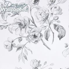 Watalet - Pastel drawn white roses with charcoal leaves adorn this striking wallcovering in a variety of different colourways. Printed on a high quality