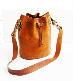 Vintage 70s Brown Leather Drawstring Bag Hobo by kickassvintage ...