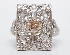 Vintage Platinum Mounting Featuring 1.13ct Cognac Diamond