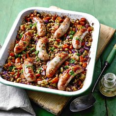 Tinned lentils are economical and nutritious. Drizzling a vinaigrette over warm food helps it to be absorbed. Lentils And Sausage, Green Lentils, Supper Recipes, New Recipes, Cooking Recipes, Crowd Recipes, Frugal Recipes, Yummy Recipes, Dish