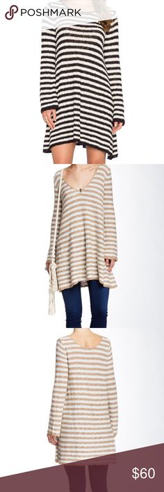 """FREE PEOPLE Striped Swing Tunic Free People striped swing tunic ➵ photos after the cover shot display the color (tan & baby blue) ➵ incredibly soft & comfortable 75% cotton, 16% acrylic, 9% nylon ➵ size small ➵ shoulder seam to hem approximately 31"""" in length ➵ can be styled multiple ways either with leggings & boots, jeans, etc Free People Sweaters"""