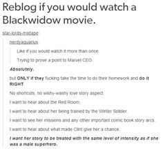 RT if you would watch a #blackwidow movie! #Marvel #Avengers @Marvel @Avengers @MarvelUK