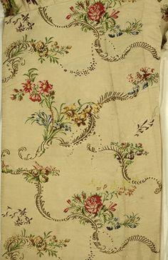Detail of fabric from white, silk, mantua; 1746-1750, MoL 007578