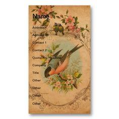 Vintage Bullfinch Digital Art Business Card Templates