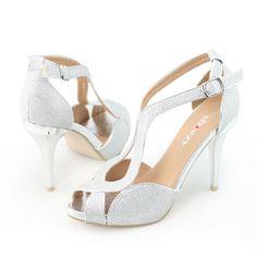 cf9786c7dfda Shoezy Italian Womens Bridal Silver Sparkle Prom Party Heels Platform Shoes  Sale