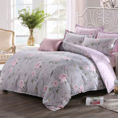 how cute are this set and off.only 2 more days if you want them. Grey Flowers, Quilt Cover Sets, Bed Covers, Comforter Sets, Pink Grey, Bed Sheets, Comforters, Pillow Cases, Blanket