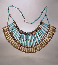 Egyptian Revival Faience Necklace Wide Turquoise Bib Collar Vintage 1940s Ethnic Jewelry by sodear2myheart, $145.00  @Etsy
