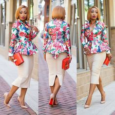 Classy and up-to-date Corporate wear for ladies. African Print Dresses, African Fashion Dresses, African Dress, Nigerian Fashion, Ankara Fashion, Corporate Outfits, Corporate Wear, African Attire, African Wear
