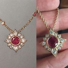 A stunning 8mm Burmese Ruby finds a Moorish inspired pendant to live in! From the original rendering to the finished piece. #customdesign #ruby #pendant #18kgold #rosegold #diamonds #jewellerydesign #jewelrydesign #oneofakind  #jewelryrendering #jewelryartist #remyrotenier