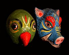 Parrot and boar masks from india