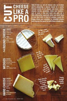 Murray s Entertaining Guide Cut cheese like a pro! (makes me laugh to type that out-lol! Charcuterie Recipes, Charcuterie And Cheese Board, Charcuterie Platter, Cheese Boards, Party Food Platters, Cheese Platters, Wine And Cheese Party, Wine Cheese, Cheese Art