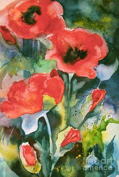 Poppies Painting by Kate Bedell - Poppies Fine Art Prints and Posters for Sale