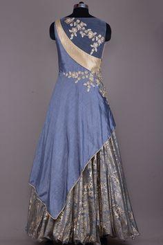 Buy Stone Grey Zari Embroidered Raw Silk Evening Gown Online