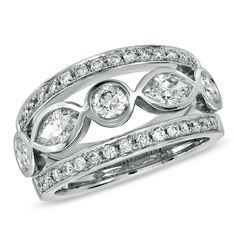 $4300 1-1/4 CT. T.W. Marquise and Round Diamond Band in Platinum (G-H/VS2-SI1) - View All Rings - Zales