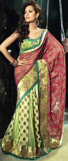 Buy Indian dresses online - the most fashionable Indian outfits for all occasions. Check out our new arrivals - the latest Indian clothes trending in India Fashion, Asian Fashion, Ethnic Fashion, Women's Fashion, Fashion Tips, Lehenga Style Saree, Green Lehenga, Net Saree, Indian Dresses Online