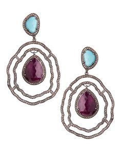 Ruby & Turquoise Diamond Drop Earrings by Bavna at Neiman Marcus Last Call.