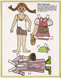 Pippi Longstocking and Horse Vintage Paper Doll from Sweden | eBay