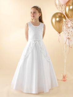 LWCD39 Communion Dress Girls Communion Dresses, First Holy Communion, Little White, Bodice, Tulle, Flower Girl Dresses, Satin, Wedding Dresses, Lace