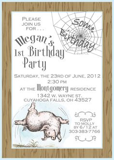 charlotte web birthday party ideas   Our New Charlotte's Web Birthday/Baby Shower Invitations Have Arrived ...