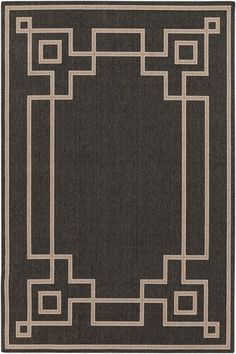 The sutbtle design of the Alfresco Border Rug from Surya will add a hint of style to any patio or indoor area. Durably made from polypropylene, this easy-to-clean rug withstands the elements while boasting a dark color palette and geometric border. Black Camel, Black And Brown, Solid Black, Dark Color Palette, Alfresco Area, Border Rugs, Thing 1, Border Pattern, Border Design