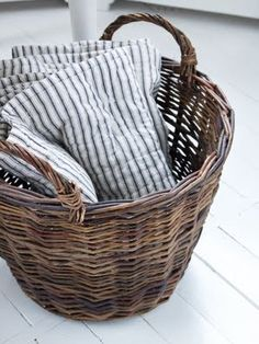 Vintage French Soul ~ blue + white striped throw blanket in a basket Old Baskets, Wicker Baskets, Vintage Baskets, Rustic Baskets, Deco Boheme, Textiles, Ticks, Sisal, Wabi Sabi