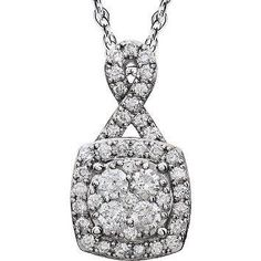 "14K White 3/4 ct tw Halo-Styled Diamond 18"" Necklace. This unique halo design necklace feature 41 fully cut round diamonds weighing .75 carats total weight, complete with an 18 inch rope style chain."