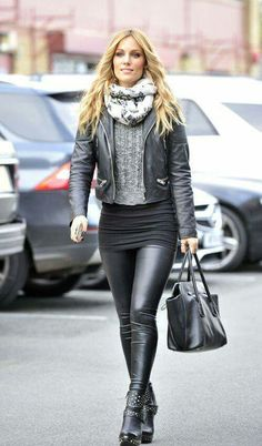Leather jacket, sweater, knit miniskirt, leather leggings, ankle boots street style fashion