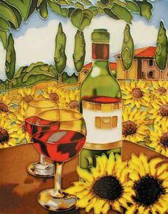 White Wine & Sunflower Art Tile