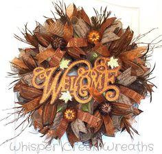 Fall Deco Mesh Welcome Wreath-Fall Wreath for Front Door-Autumn Decor-Glittered Pumpkins-Fall Decorations-Welcome Sign for Front Door- Fall Mesh Wreaths, Fall Deco Mesh, Christmas Mesh Wreaths, Wreath Fall, Wreaths For Front Door, Door Wreaths, Burlap Wreaths, Thanksgiving Wreaths, Wreath Crafts