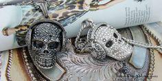 DJ Headphones Skull Head Pendant Chain Necklaces Swarovski Crystal Mens Silver Jewelry HipHop Biker
