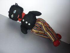 1920's Black Wool Felt Cloth Doll 16 by DolllightedToMeetYou #unitedsellers