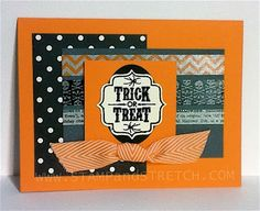 Stamps: Tags 4 You Paper: Black, Gray, Pumpkin Pie, Vanilla,  Modern Medley Designer Ink: Versamark Pad Punches: Extra Large Oval, Label Bracket Finishing Touches: Black Embossing Powder, Chevron Ribbon,  Witches' Brew Washi Tape
