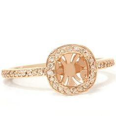 Diamond .30CT Engagement Halo Ring 14K Rose Gold by Pompeii3