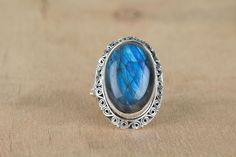 Labradorite Jewellery –  Blue Fire Labradorite Gems Handmade Silver Ring – a unique product by ArtisanJewellery on DaWanda