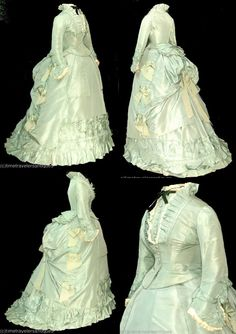 1870's silk taffeta. I always think of giant hustles like this when I see those ridiculous high low dresses...